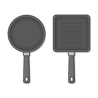 Сковорода иллюстрации. кухонная утварь для готовки
