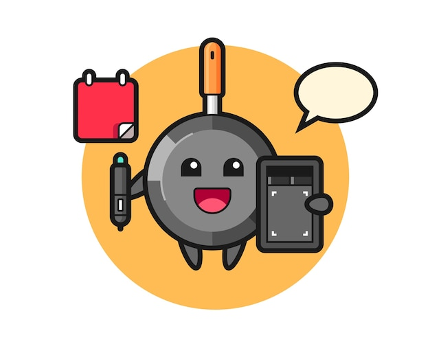 Frying pan mascot as a graphic designer