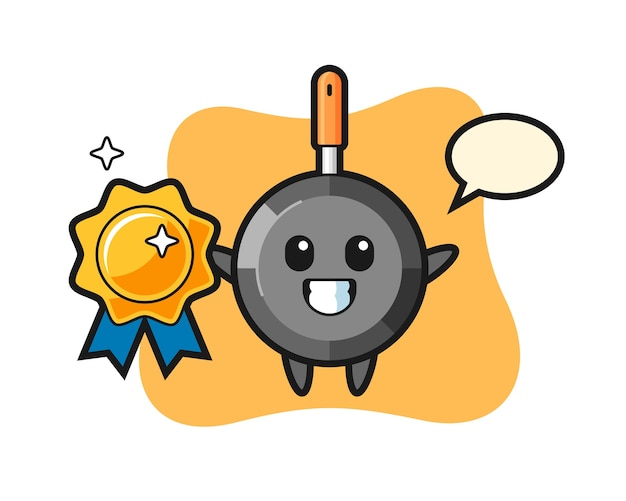 Frying pan mascot illustration holding a golden badge
