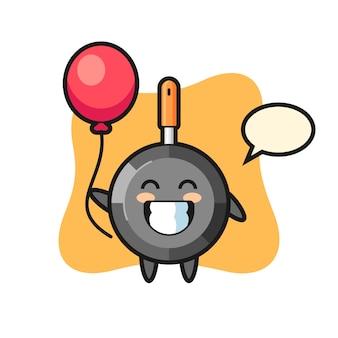 Frying pan mascot illustration is playing balloon