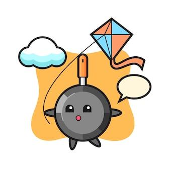 Frying pan mascot illustration is playing kite