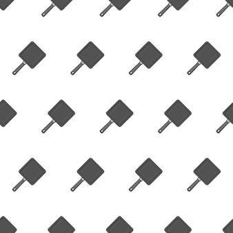 白い背景の上のフライパンのシームレスなパターン。キッチンのテーマのベクトル図