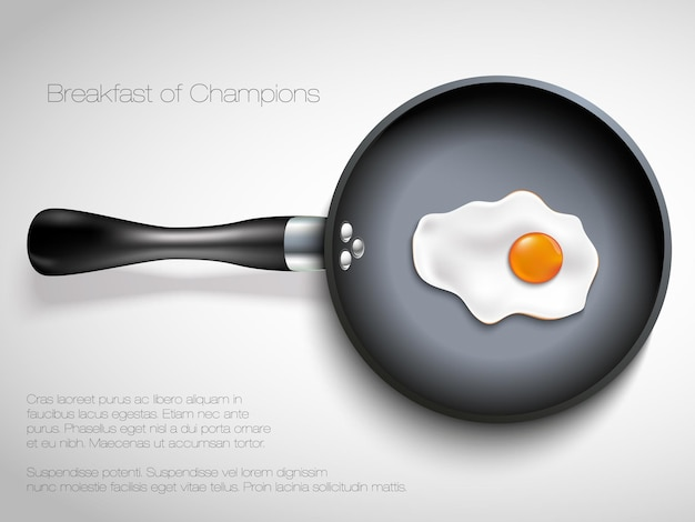 Frying pan with egg.