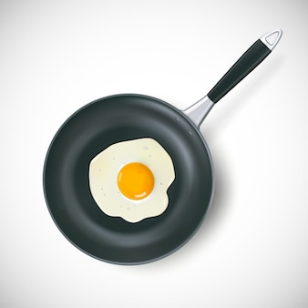 Frying pan with scrambled egg