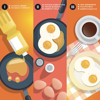 Frying scrambled eggs cooking instruction. yolk and pan, oil and coffee cup, breakfast gourmet.