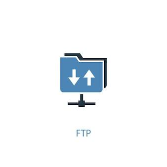 Ftpコンセプト2色のアイコン。シンプルな青い要素のイラスト。 ftpコンセプトシンボルデザイン。 webおよびモバイルui / uxに使用できます