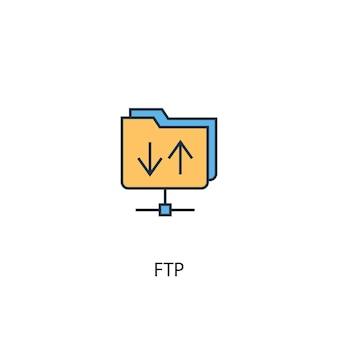 Ftpコンセプト2色の線のアイコン。シンプルな黄色と青の要素のイラスト。 ftpコンセプト概要シンボルデザイン