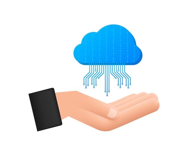 手にftpファイル転送アイコン。 ftpテクノロジーアイコン。サーバーにデータを転送します。ベクトルイラスト。