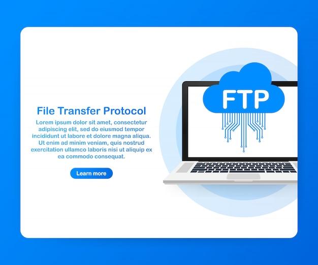 ラップトップでのftpファイル転送。 ftpテクノロジー。サーバーにデータを転送します。 。