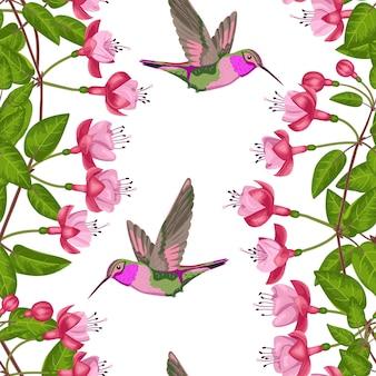 フクシアとハチドリのシームレスなパターンはがきグリーティングカードテキスタイルプリントの背景