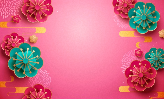 フクシアとターコイズの紙梅の花の壁紙