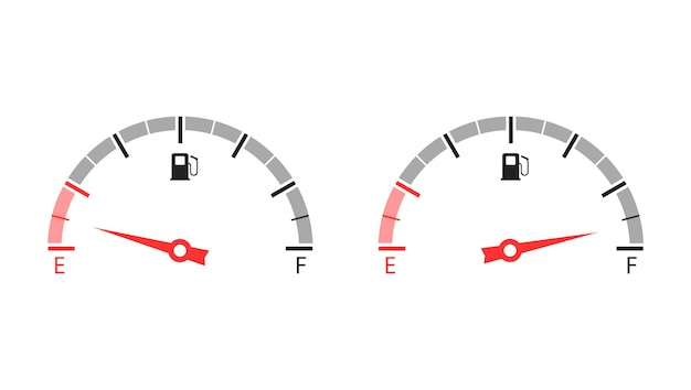 Fuel gauge. empty and full tank of fuel. illustration