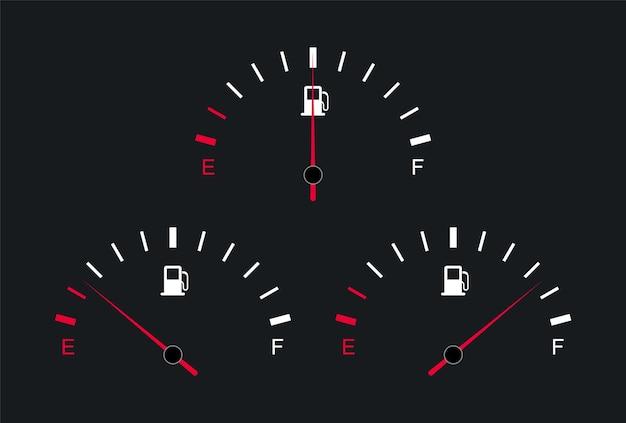 Fuel gauge and indicator car dashboard