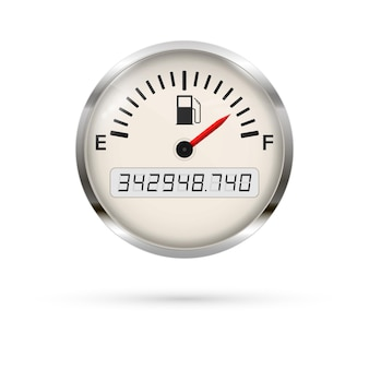 크롬 프레임이있는 연료 게이지. 전체 표시. 연료 표시기 미터. 프리미엄 벡터