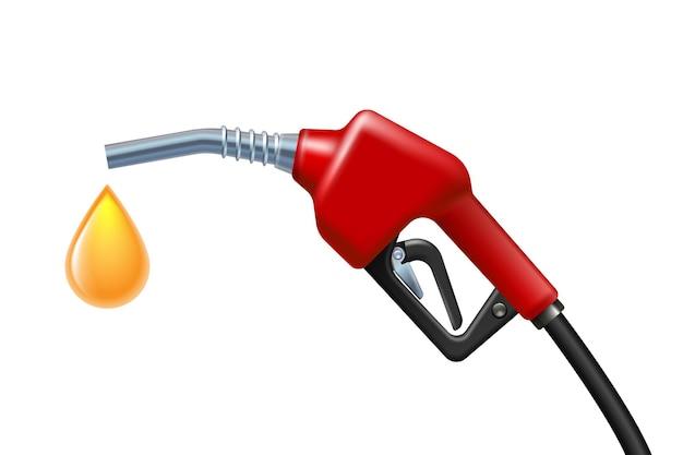 호스가 있는 연료 핸들 펌프 노즐. 연료와 함께 가스 총에서 떨어지는 휘발유의 노란색 드롭. 벡터 일러스트 레이 션 흰색 배경에 고립입니다. 전력 및 에너지 개념입니다.