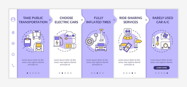 Fuel saving tips onboarding vector template. environment conservation, saving money on travel. responsive mobile website with icons. webpage walkthrough step screens. rgb color concept