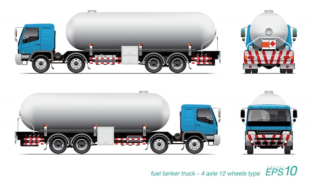 Fuel tank truck illustration set