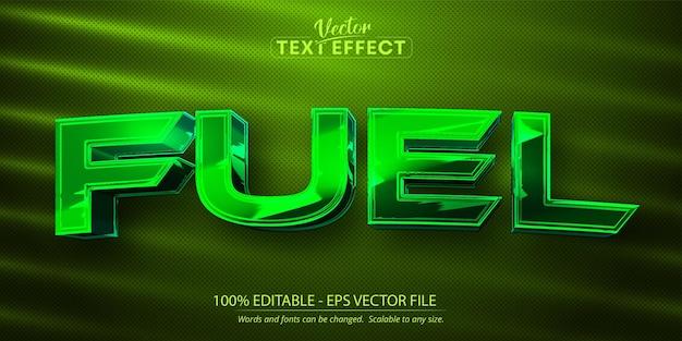 燃料テキスト、光沢のあるグリーンクロームカラースタイル編集可能なテキスト効果