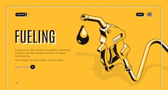 Fueling gasoline or diesel isometric web banner. Fuel nozzle on hose and droplet of gas