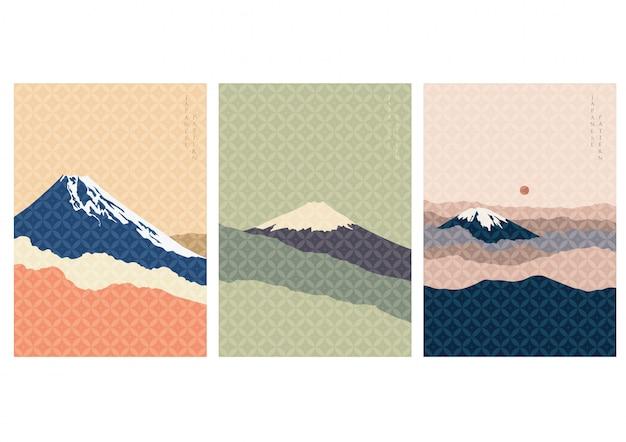 和柄の富士山の背景。ヴィンテージの風景テンプレート。日本で有名なランドマーク。