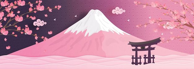Fuji mountain landmarks of japan in paper cut style