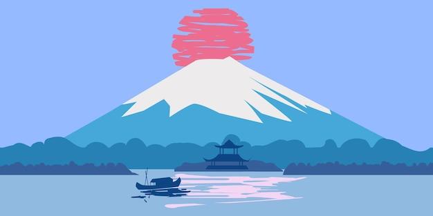 후지산 일출 풍경 일본 파노라마. 호수 태양 보트 아시아 사원