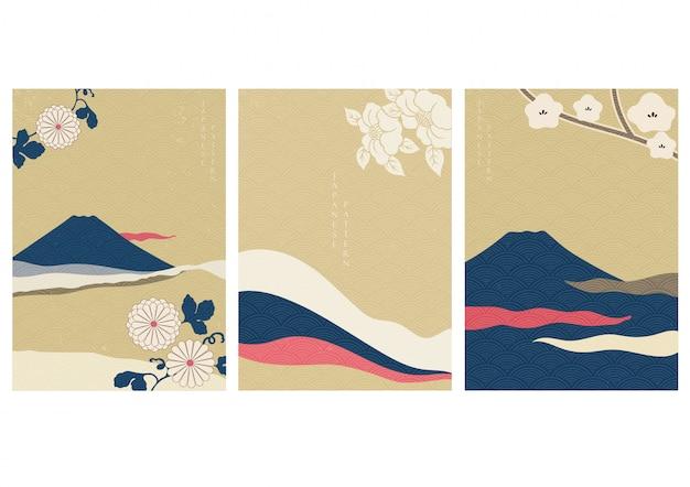 일본식 꽃과 후지산. 웨이브 패턴 일러스트와 함께 풍경 배경입니다.