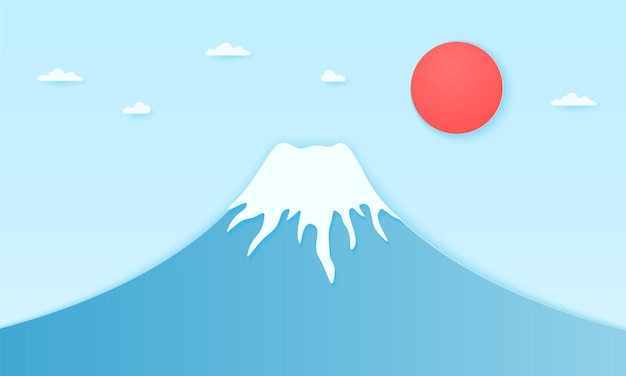 Fuji mountain with sun and clouds, paper art style