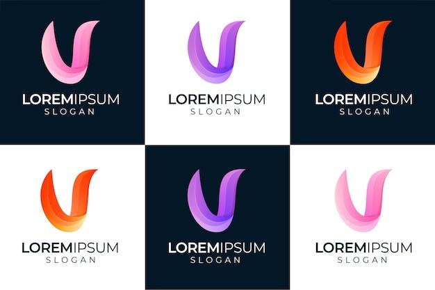 フルカラー文字vロゴデザイン