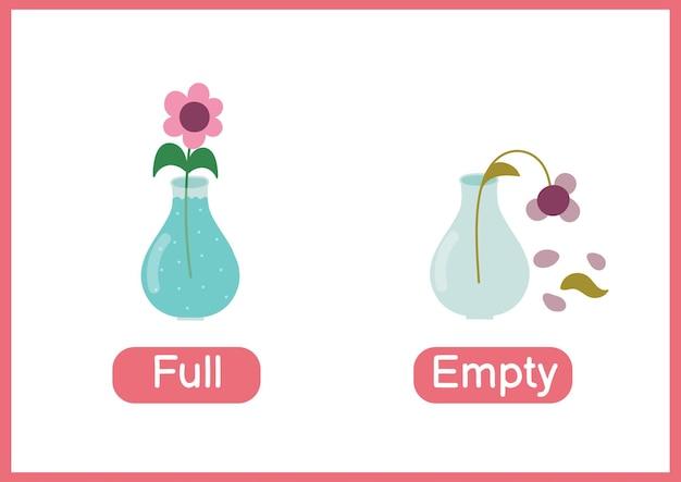 完全および空の反対形容詞教育単語カード