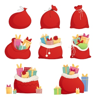 Full bag of gifts from santa claus. christmas decorative element