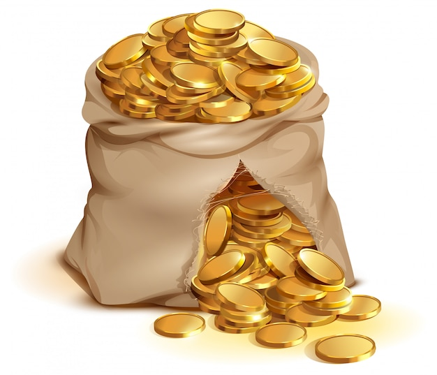 Full bag of gold coins burst, cash gold money