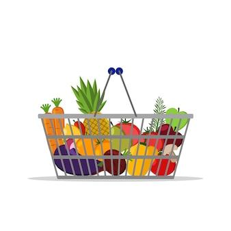 Полная корзина с разным здоровым питанием. фрукты и овощи. корзина для покупок в супермаркете. плоский векторный символ. для карт, веб, иконок, магазинов