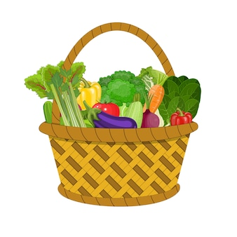 Full basket with different healthy food.