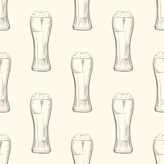 Full beer glass seamless pattern.