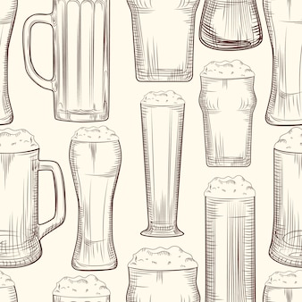 Full beer mug seamless pattern.