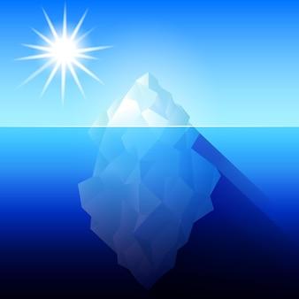 바다 평면 스타일 벡터 일러스트 레이 션에 전체 큰 빙산