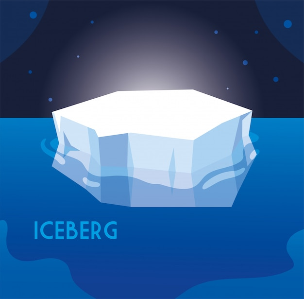 Full big iceberg in the sea, north pole