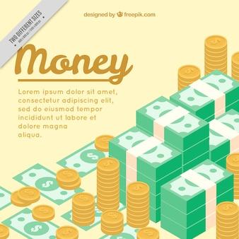 Pieno di banconote e monete sfondo in stile isometrico