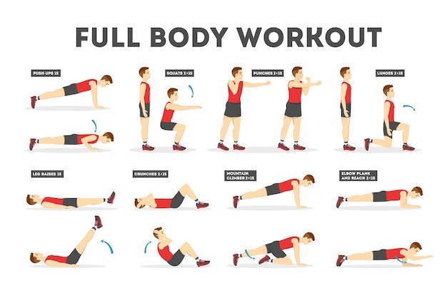 Full body workout set. exercise for man