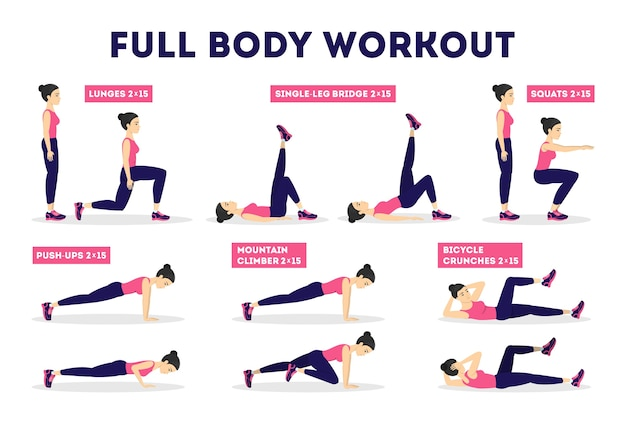 Full body workout set. exercise for woman