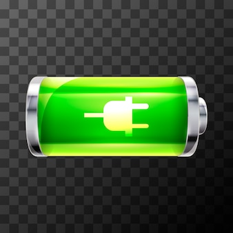 Full bright glossy battery icon with charging symbol