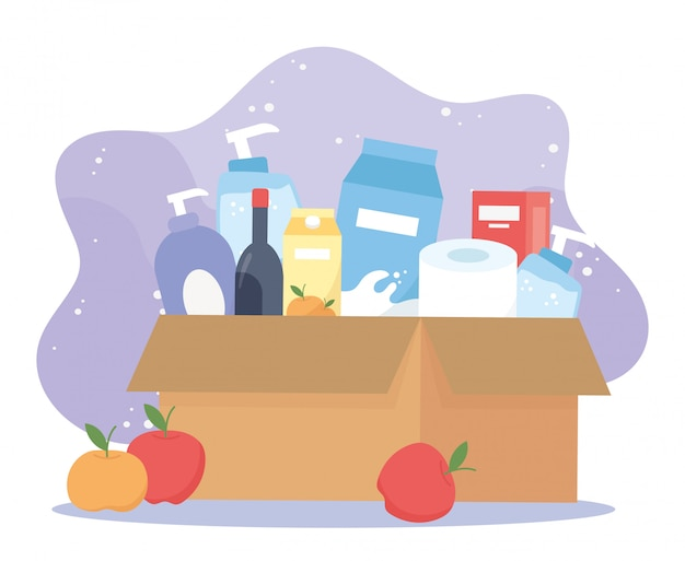 Full cardboard box with wine, food toilet paper cleaning products, excess purchase