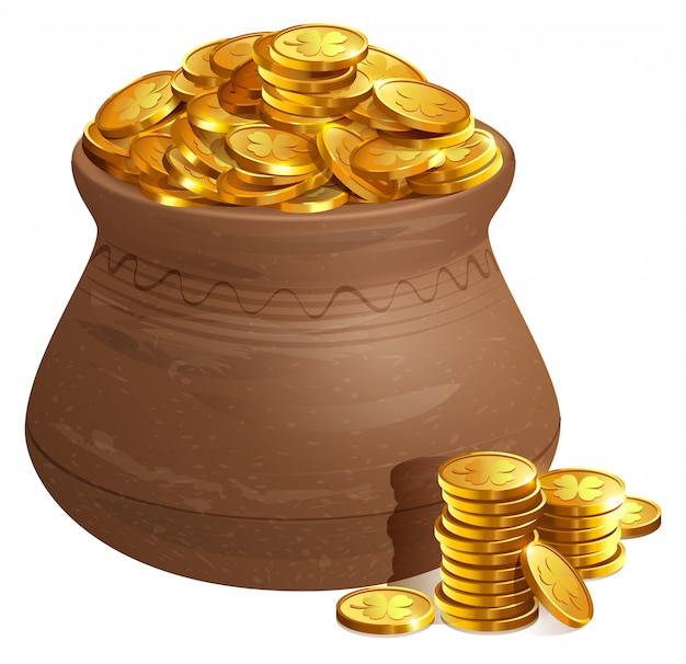 Full ceramic pot with gold coins. old treasure with gold