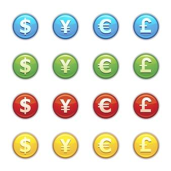 白い背景の上のフルカラーの通貨