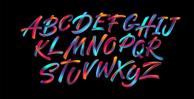 Full color handwriting paint brush lettering latin alphabet letters.