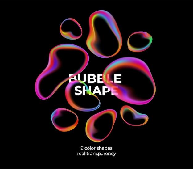 Полноцветные модные прозрачные пузыри на черном.