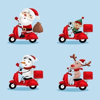 Full colors   illustration santa delivery
