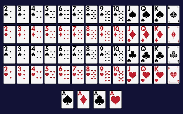 Full deck of cards for playing poker and casino.