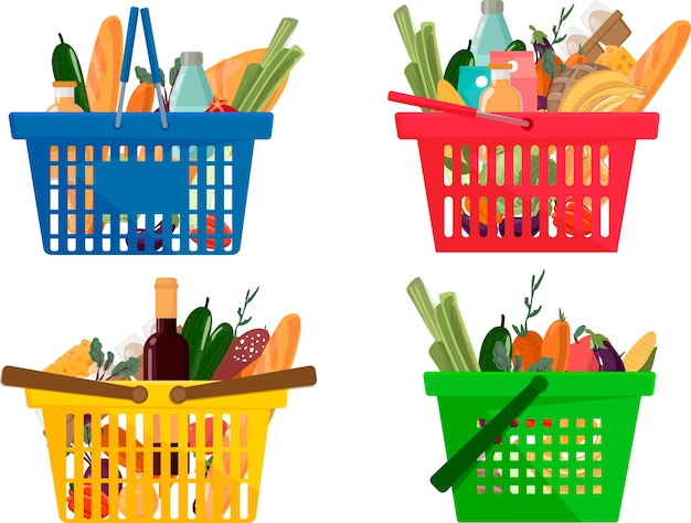 Full different shopping basket of market food and products icons set